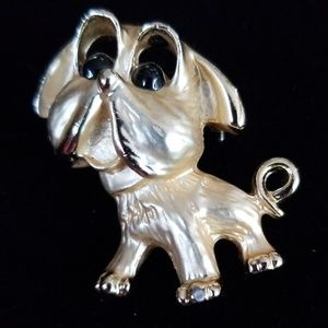 Vintage Gold Tone Dog Puppy Bulldog Brooch
